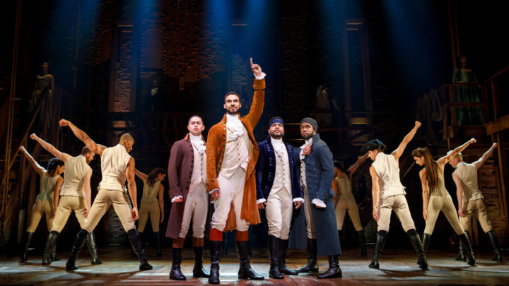 """The company of Hamilton poses at the end of """"My Shot"""""""